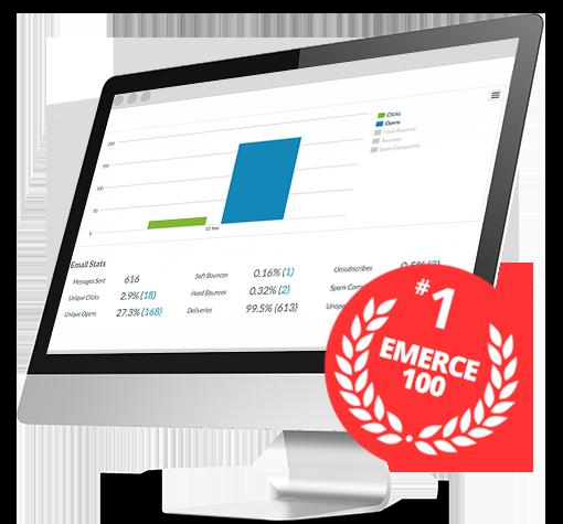 iMac voorbeeld van de email marketing software van Mark-i