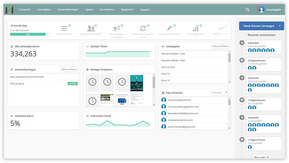 Printscreen van de Mark-i software - Het dashboard