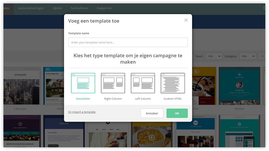 Printscreen van de Mark-i software - Zelf een template kiezen