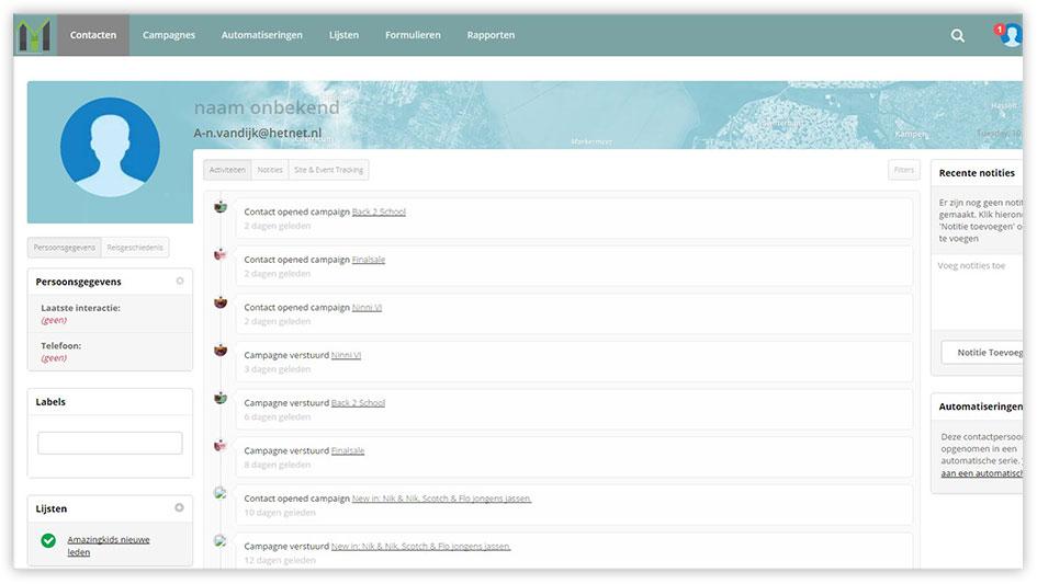Printscreen van de Mark-i software - Een uitgebreid CRM systeem